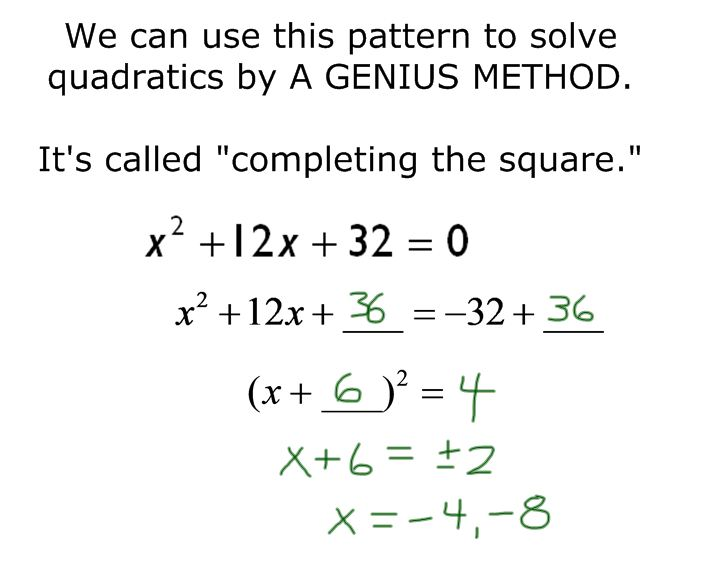 f t completing the square