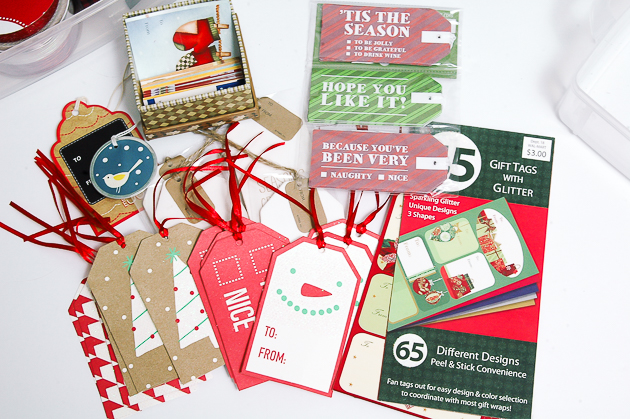 organizing holiday gift tags