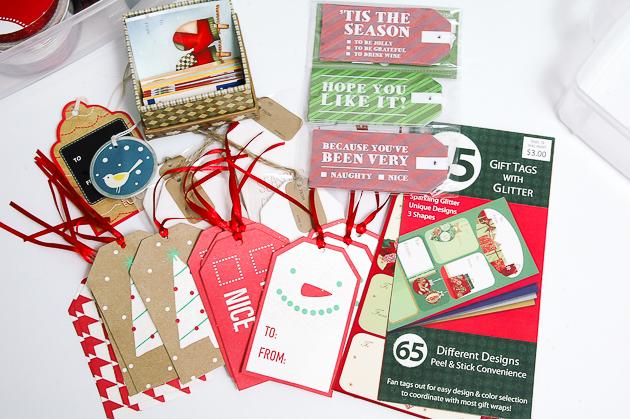organizing holiday gift tags