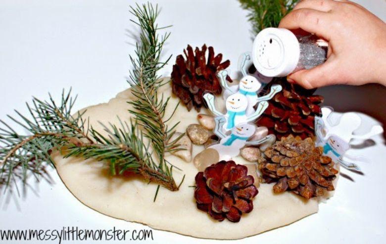 winter playdough activity for kids