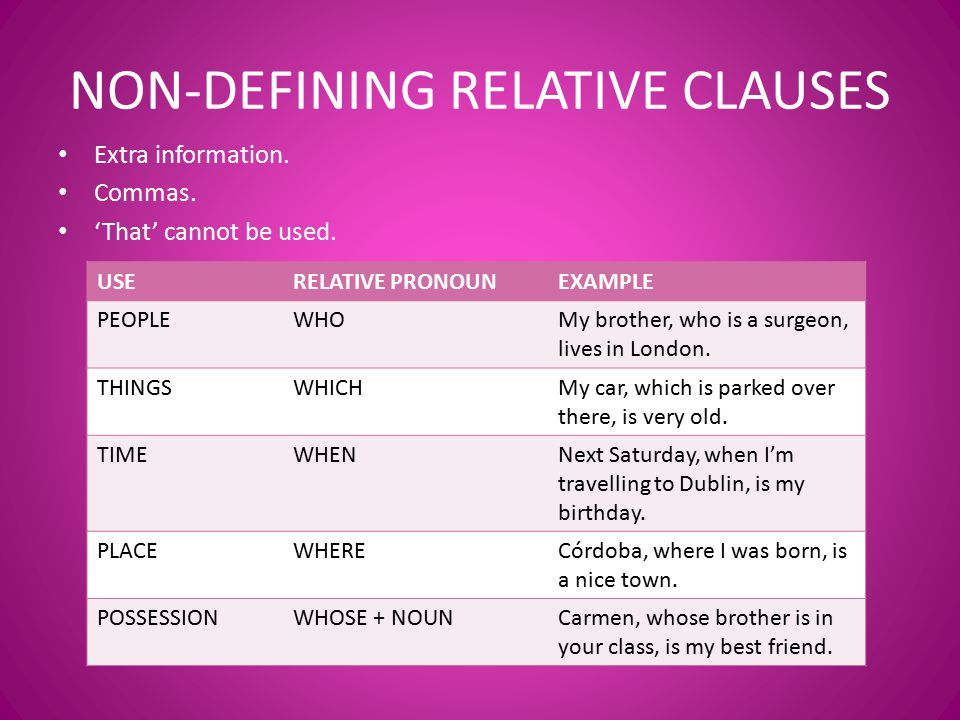 non defining relative clauses Relative pronouns quiz for esl students what kind of relative clause is identified in red in the sentences on the right non-defining: q9.