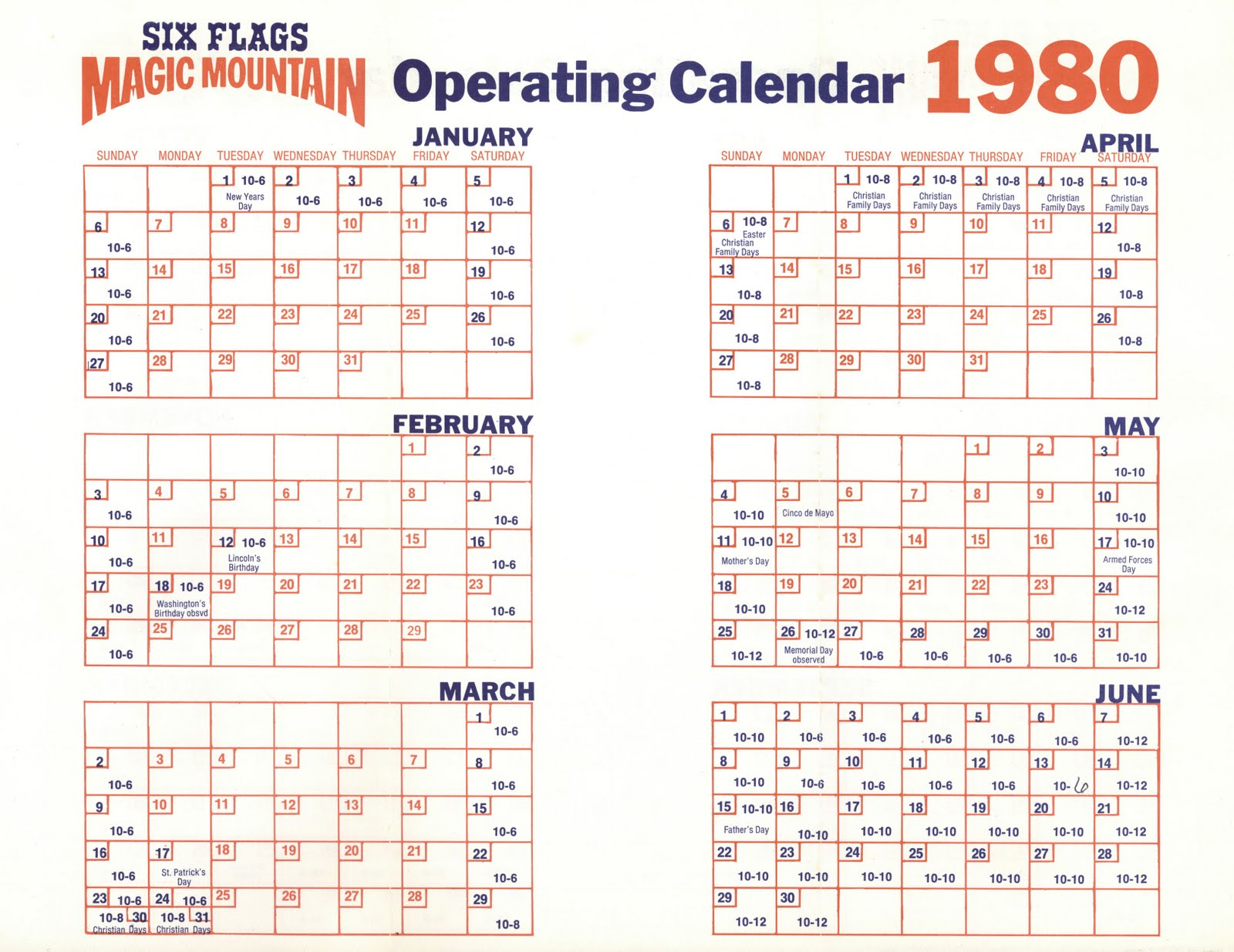 Yearly Calendar Maker Vintage Disneyland Tickets Magic Mountain Complimentary