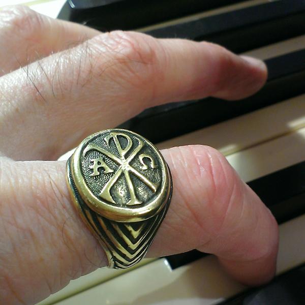 купить христианское кольцо хризма монограмма имени христа из бронзы латуни
