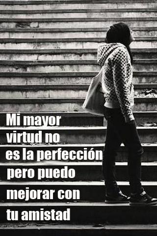 Mi mayor virtud no es la perfección pero puedo mejorar con tu amistad