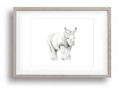 Safari Nursery Art, Rhino, Jungle, Grey and White Nursery, Rhinoceros, Baby Boy Nursery Art, Girl Unisex Neutral Baby Animal, Pencil Drawing, Sketch, Art Print
