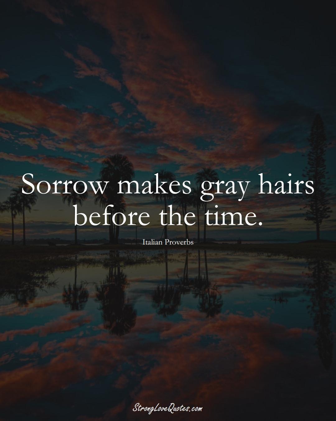 Sorrow makes gray hairs before the time. (Italian Sayings);  #EuropeanSayings