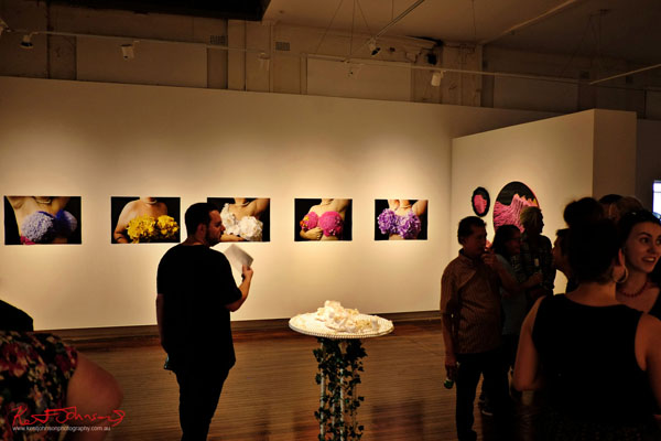 Installation view, Bec Litvan's BEAUTY AND THE BREAST. Photographed by Kent Johnson for Street Fashion Sydney.