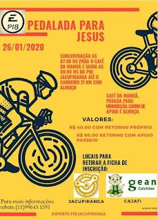 1° PASSEIO CICLÍSTICO  ( PEDALADA PARA JESUS) EM JACUPIRANGA