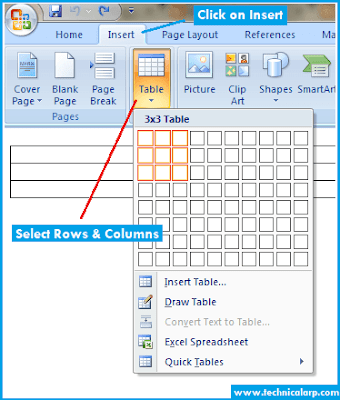 Create Table in Blogger using microsoft word