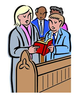 Singers in church sharing hymn book