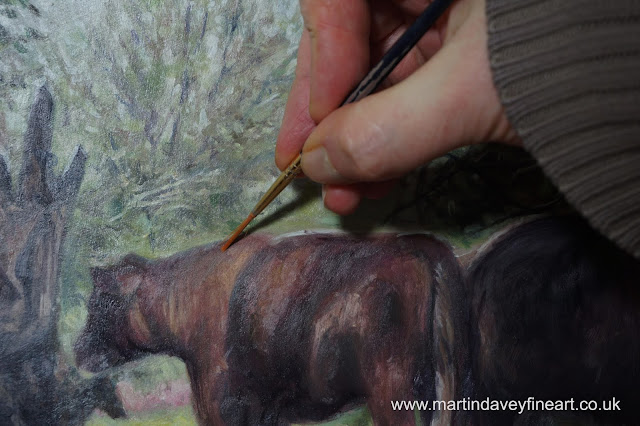 cow painting WIP brush painting M P Davey
