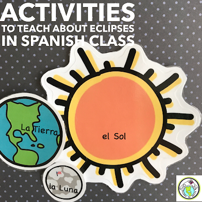 Activities to Teach about solar and lunar eclipses in Spanish Class