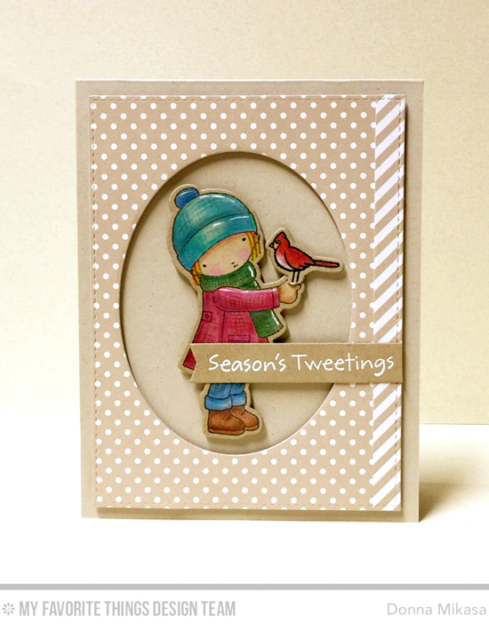 Handmade card from Donna Mikasa featuring Pure Innocence Season's Tweetings stamp set and Die-namics and Oval STAX Set 2, Blueprints 23, and Blueprints 24 Die-namics #mftstamps