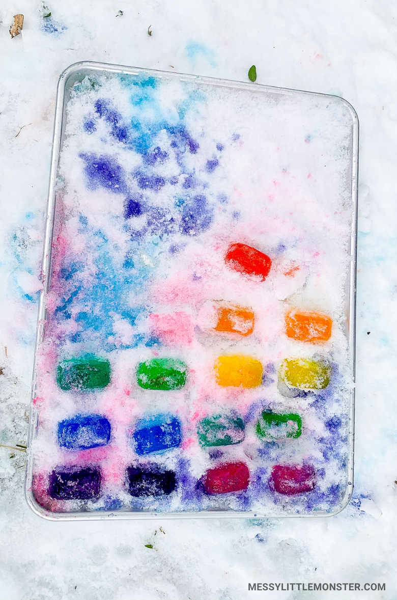 Ice painting in snow activity