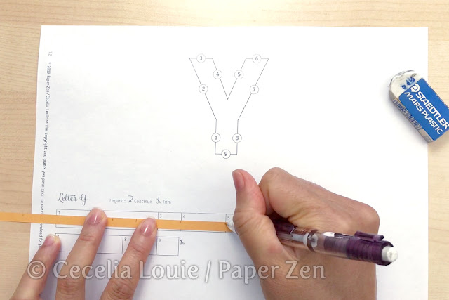 quilling letter y mandala pattern tutorial - how to enlarge pattern