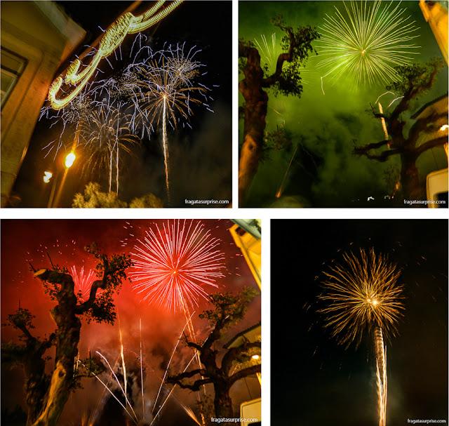 Fogos de artifício saúdam São Gonçalo, padroeiro de Amarante, na festa que abre o calendário junino em Portugal