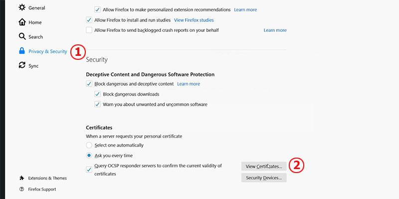 Hình 4. View Certificates trên firefox