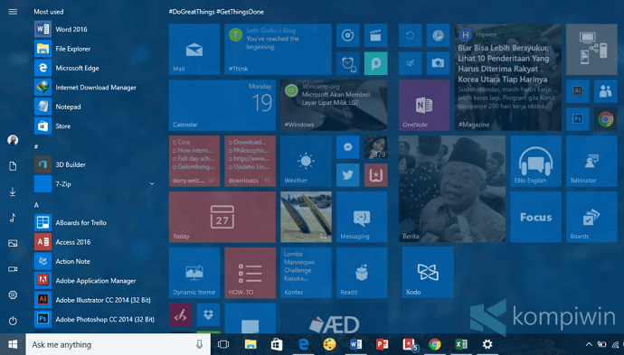 tampilan start windows 10