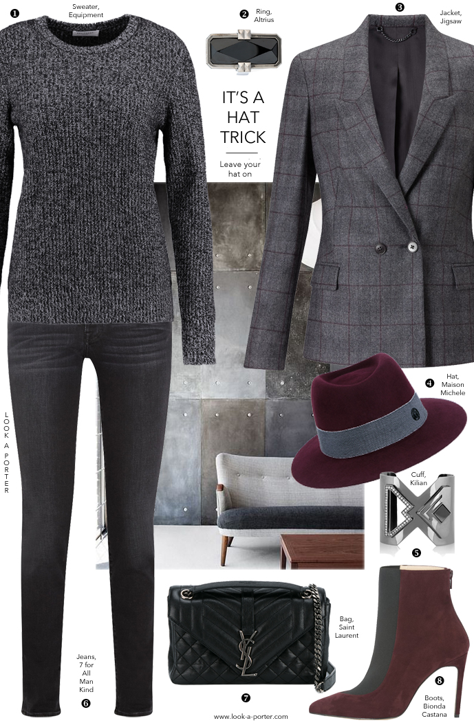Another idea of styling an elegant grey tweed jacket for autumn with denim for a casual look via www.look-a-porter.com style & fashion blog / daily outfit inspiration and ideas / featuring Equipment, Bionda Castana, Saint Laurent, Kilian & more
