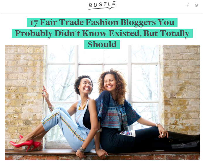 Fair Trade Fashion Bloggers in Bustle