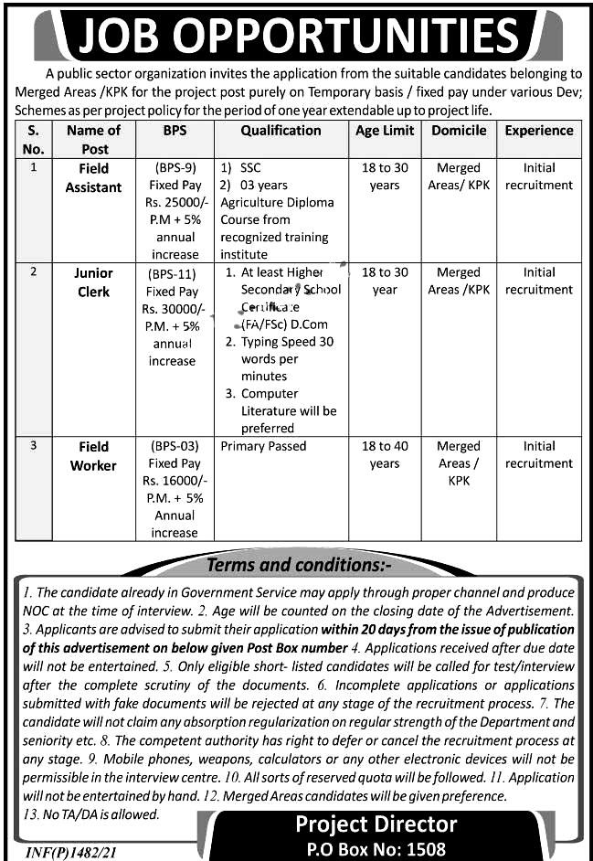 Latest Jobs in Public Sector Organization Post box no 1508 Pakistan 2021
