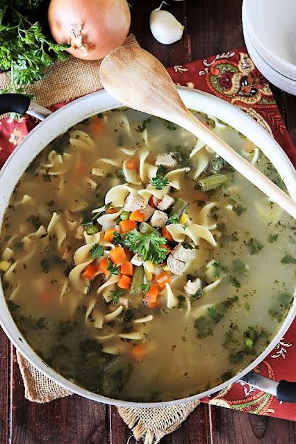Pot of Quick Turkey Noodle Soup Image