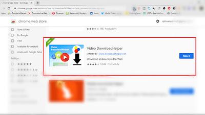 The Downloadhelper addon in google chrome