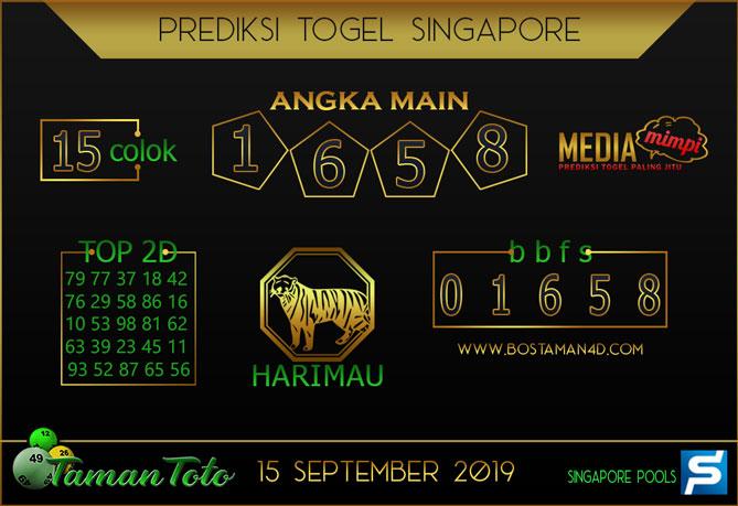 Prediksi Togel SINGAPORE TAMAN TOTO 15 SEPTEMBER 2019