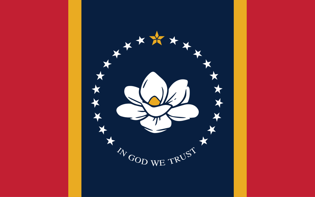 The new official flag of the US state of Mississippi, approved in a popular referendum on November 3, 2020 and formally adopted January 11, 2021. Features a white magnolia flower on a dark blue background, surrounded by 20 white stars topped with a golden star-like symbol. The left and right sides of the flag are red, separated from the blue center by thin golden borders.
