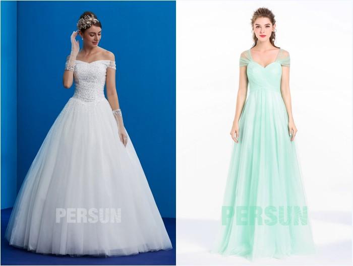 robe de mariée princesse et robe demoiselle d'honneur romantique en tulle