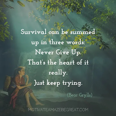 "Never Quit Quotes: ""Survival can be summed up in three words―never give up. That's the heart of it really. Just keep trying."" ― Bear Grylls"