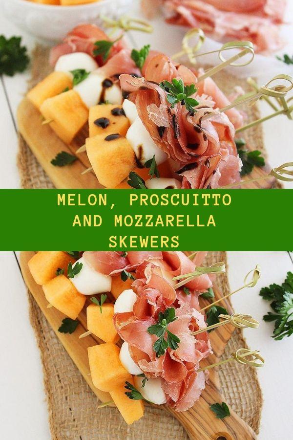 MELON, PROSCUITTO AND MOZZARELLA SKEWERS