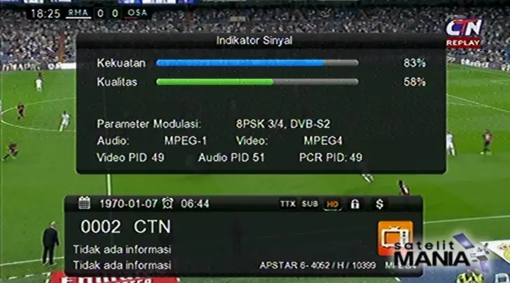 Channel CTN, CNC dan MyTV HD di satelit Apstar 6