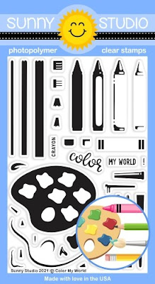 Sunny Studio Blog: Introducing Color My World 4x6 Clear Photopolymer Crayon, Pencil, Paintbrush & Paint Palette Stamps