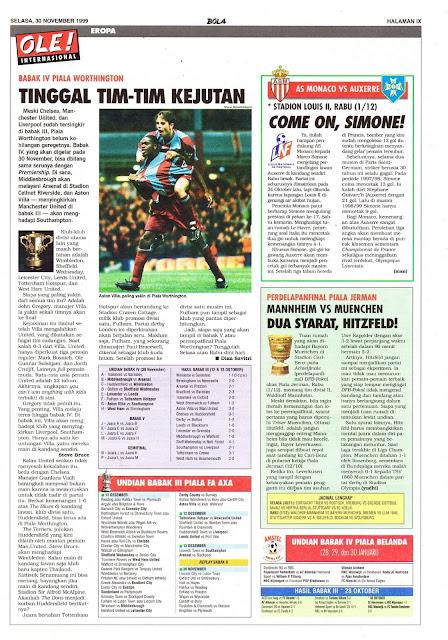 WORTHINGTON CUP 1999 FOOTBALL NEWS