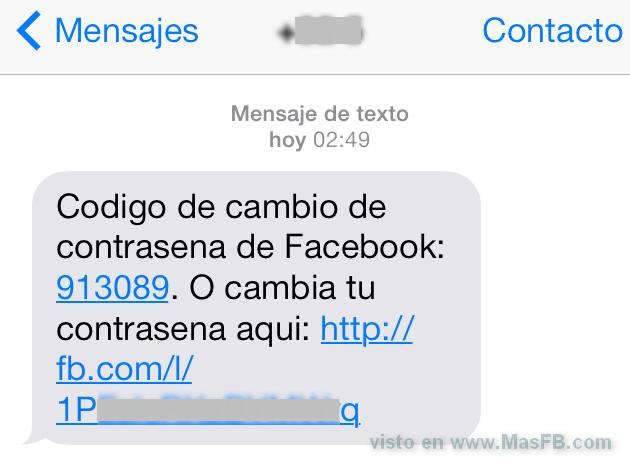 SMS codigo de cambio de password en Facebook - MasFB