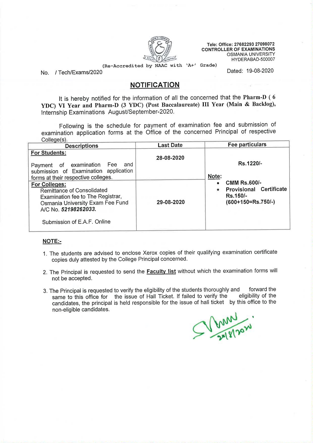 Osmania University Pharma D 3rd & 6th Year August 2020 Exam Fee Notification