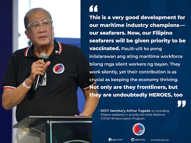 FILIPINO SEAFARERS NOW INCLUDED IN PRIORITY LIST IN THE NATIONAL COVID-19 VACCINATION PROGRAM