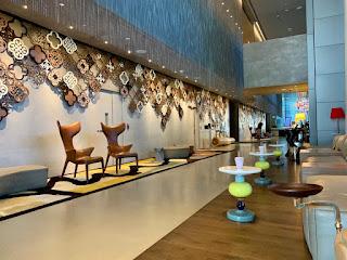 Hotel lobby interior, JW Marriott Singapore Beach Road, 2021