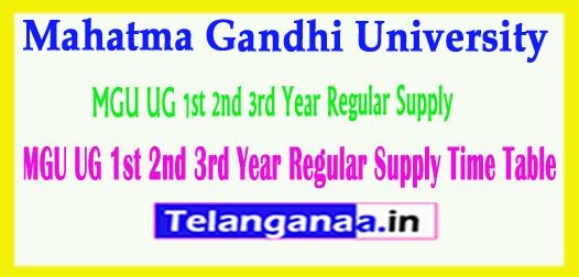 MGU UG Mahatma Gandhi University UG 1st 2nd 3rd Year Regular Supply Time Table