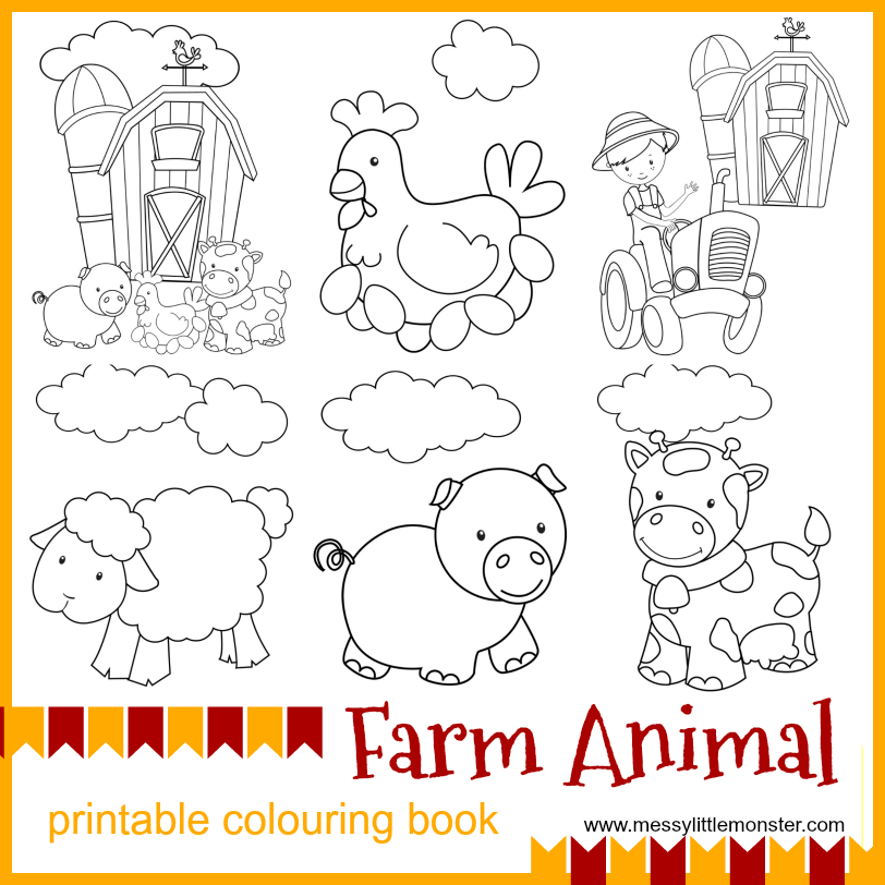 image relating to Animal Printable called Farm Animal Printable Colouring Webpages - Messy Tiny Monster