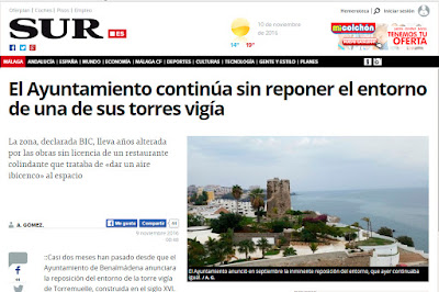 El Ayuntamiento continúa sin reponer el entorno de una de sus torres vigía