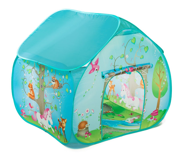 A pale blue pop up playtent with trees and woodland animals on the wall and floor