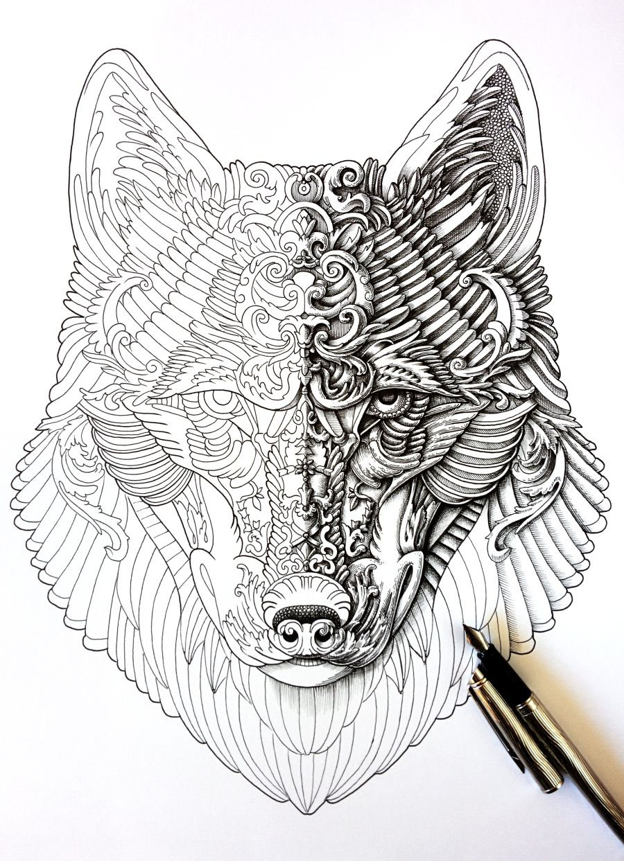 02-Wolf-WIP-Alex-Konahin-Ornate-Details-in-Animal-Drawings-www-designstack-co