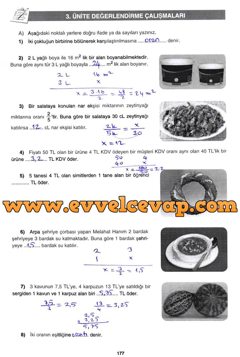 7. Sınıf Gizem Yayınları Matematik Ders Kitabı 177. Sayfa Cevapları 3. Ünite Değerlendirme Çalışmaları