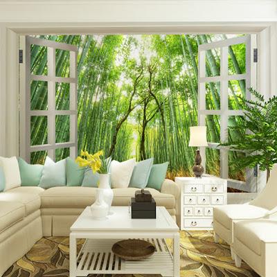 fönster tapet skog fototapet 3d bambu träd skogstapet tropisk