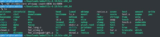 comando dd no embutils compilado com a dietlibc 0.34