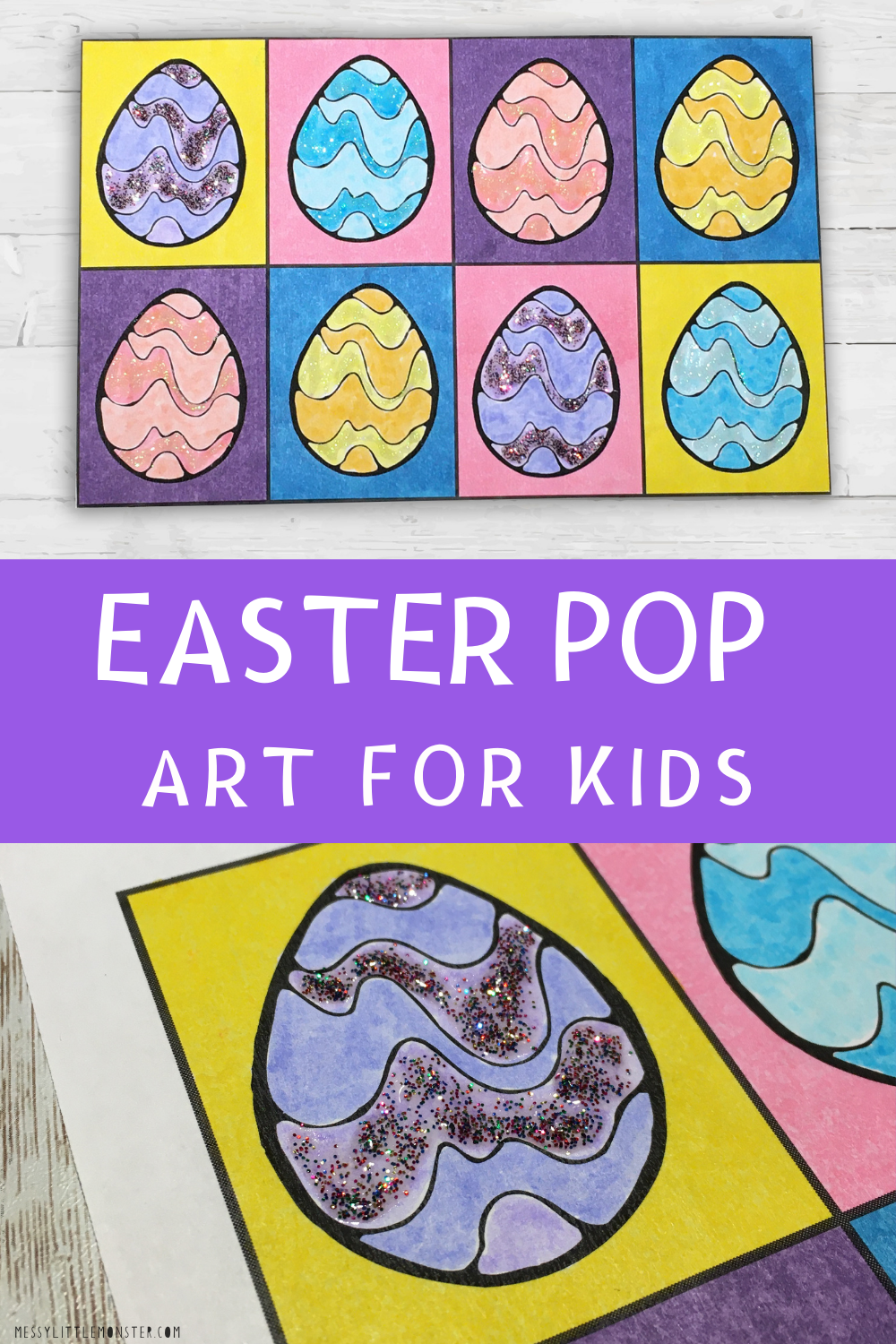 Easter pop art for kids. Andy warhol inspired art project.