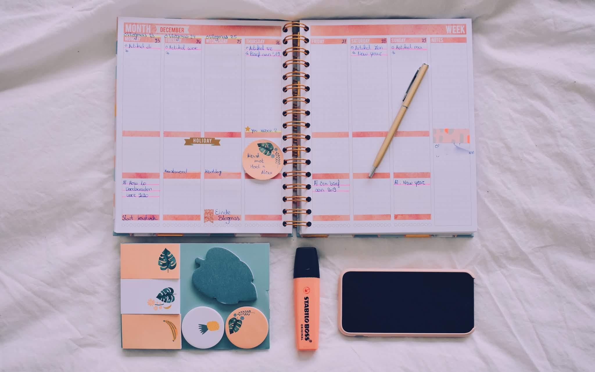 Overview van een week in mijn Mascha planner.