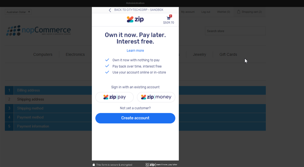 ZipMoney Modal screen